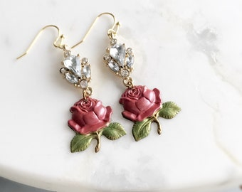 rhinestone flower earrings red rose earrings floral earrings shabby chic jewelry romantic jewelry vintage style pink SPARKLING ROSE