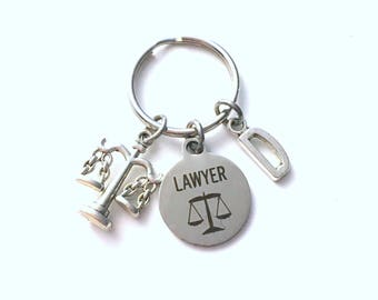 Lawyer Key Chain, Gift for Lawyer KeyChain Keyring, Law School Student Graduation Retirement Birthday Present Initial Personalized men women