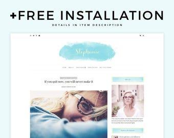 "Feminine Blogger Theme - ""Stephanie""   Watercolor Blogger Template, Responsive Blogger Theme, Simple Blog Template, Free Installation, Blue"