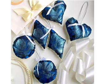 Christmas Ornaments, Set of 6, Victorian Blue Brocade Tree Decoration, Unbreakable,Heart,Bubble,Diamond,Geometric,Glitter Accents,Gift Box