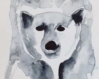 original colorful print Polar Bear original watercolor original painting modern animal painting POLAR BEAR