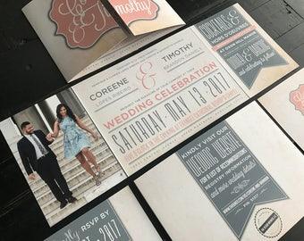 Custom Fold Wedding Invitation Suite | Wedding Invitations | Rustic | Wood | Vow Renewal | Elopement | Reception Invite | Custom Monogram