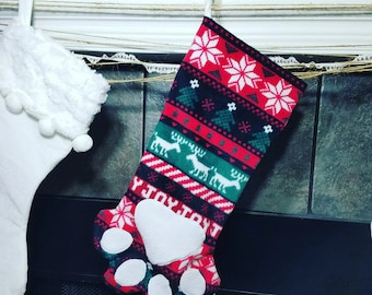 Holiday Stocking, Pet Stocking, Fleece Stocking, Christmas Stocking, Stocking, Ugly Christmas Sweater Stocking, Pet Gifts, Gifts for Pets