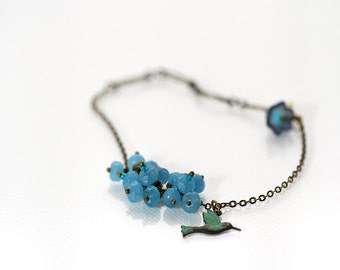 Blue Chalcedony Bracelet with Bird & Flower Charm - Last One - Free Shipping