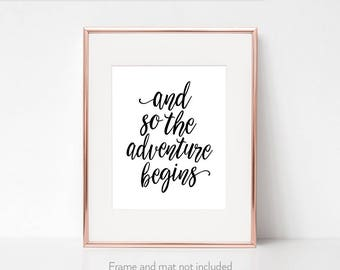 College graduation gift for her / Graduate gift / Start School / 'And so the adventure begins' / New job quote /