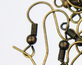 SALE Sale 1000 pcs of Antique Brass fish Hook with spring and ball Earwire 19X17mm