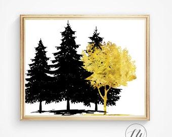 Tree print, Wall art, Gold foil print, Tree art, Tree art print, Instant download, Print, Art print, Wall decor, Art prints, Christmas gift
