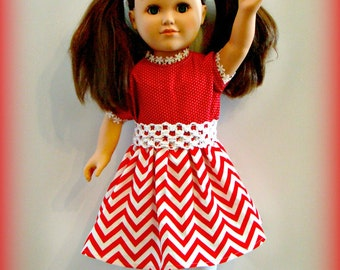 "Red and White Party Dress for 18"" American Girl Doll! Red & White Chevron Outfit with White Stretch Belt for School or Dress Up Doll Clothes"