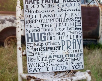 House Rules Signs, Family Rules Signs, Family Name Sign, Rustic Home Decor, Farmhouse Decor, House Rules Sign, Farmhouse Sign