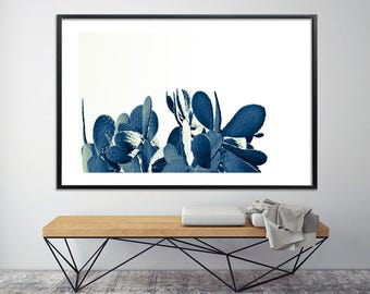 Modern Cactus print 40X60 Succulents print large botanical print, huge extra large wall art above the bed canvas art poster by Duealberi
