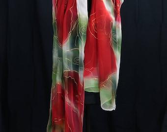 Rot - Chiffonseide - 180x55 cm - franz. Seidenmalfarbe - dampffixiert - handsigniertes Unikat - Geschenk für Sie