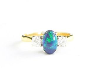 Schwarzer Opal-Diamant-Verlobungsring in 18 Karat Gold für ihre handgemachte Ring UK
