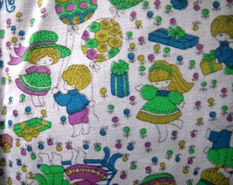 "1970s Birthday Cake & Children Cotton Fabric - 35"" wide x 30"""