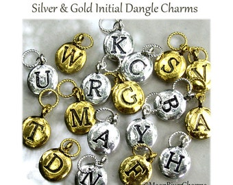 Initial Charm Personalized Silver Gold Add On Initial Charm Fits European Bracelet Necklace Keychain Custom Alphabet Letter Dangle Charm