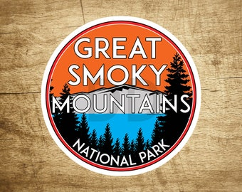 """Great Smoky Mountains National Park Vinyl Decal Sticker 3"""" x 3"""" Tennessee Smokies Vintage Style"""