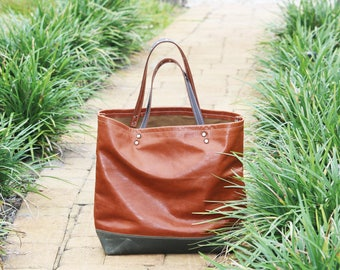 leather tote bag - only one available - (one-of-a-kind) - made in USA - 010082