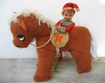 """Vintage Douglas Horse Cuddle Toy Stuffed Animal 10"""" Tall Chestnut Equestrian Pony With Saddle And Reins"""