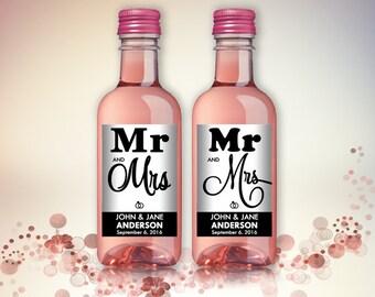 Wedding Party Favor Mini Wine Bottle Labels, Customized - Wedding, Engagement - Black and White, Mini Wine Labels - DIY Print, Printable PDF