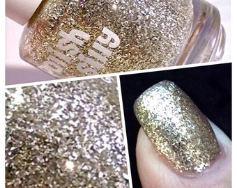 HYPNOTIC -RARE sterling silver flakies polish:  Custom-Blended Indie Glitter Nail Polish / Lacquer-Polish Me Silly