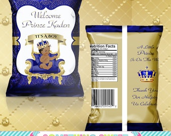 PRINTED Blue and Gold Royal Prince Themed Chip Bag Treat Bag - YOU ASSEMBLE(Read before ordering)