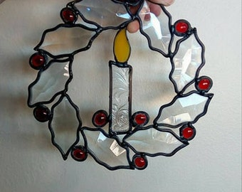 Stained Glass Bevel Candle Wreath