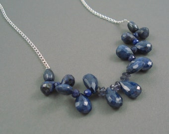 Natural Sapphire Teardrop Necklace with  Sterling Silver, Jewelry Necklace