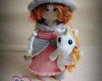 PATTERN Crochet Doll Princess + little unicorn Amigurumi Princess Tilda Digital downloads PDF in English Pattern unicorn Pattern doll