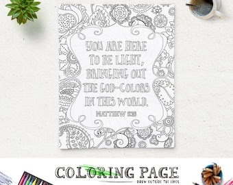 bible verse printable coloring page matthew 516 instant download coloring pages printable bible quote coloring page adults coloring book