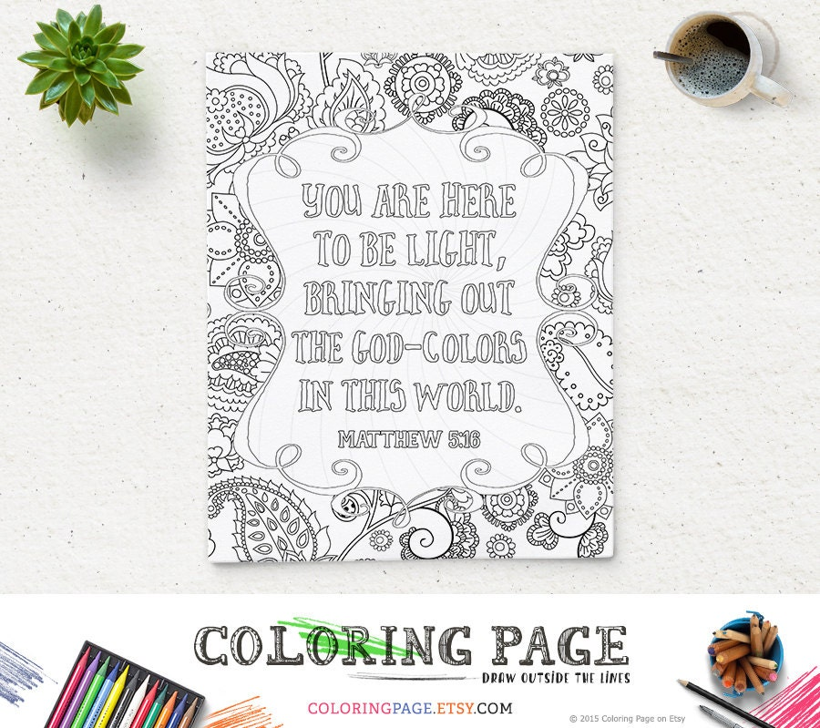 Bible Verse Printable Coloring Page Matthew 516 Instant