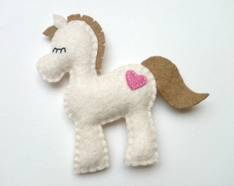 Felt pony decoration for kids room - horse ornament for Christmas Housewarming home decor Baby shower ideas for her for him eco friendly
