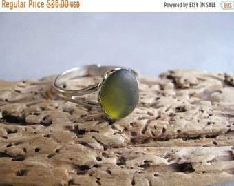 Mothers Day Sale Genuine Sea Glass Jewelry -Olive Green - Adjustable Sea Glass Ring - Beach Glass Ring - Sea Glass from Prince Edward Island
