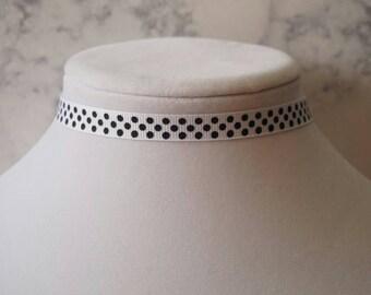 White and Black Polka Dot Choker Necklace