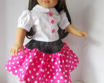Candy Dots Hot Pink Polka Dot Blouse Skirt Shoes 18 Inch Doll Clothes