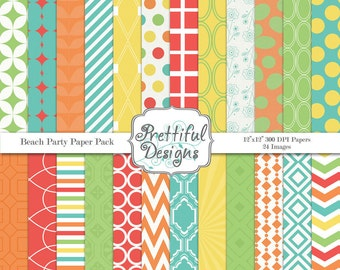 Digital Scrapbooking Printable Paper Pack Commercial Use OK Beach Party
