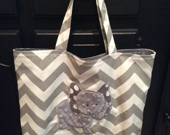 Grey Chevron Elephant Tote, Noah's Ark Tote, Tote Bag