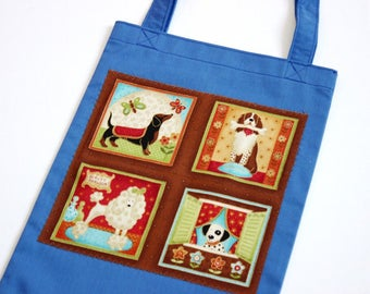 Dog tote bags, dogs mini tote bags, children's tote bags, children's lunch bags, doggy totes, children's book bags, children's gifts UK shop