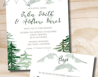 Watercolor Pine Mountain Wedding Invitation Response Card Invitation Suite, Winter Wedding, Watercolor, Mountaintop, Slope side, Evergreen