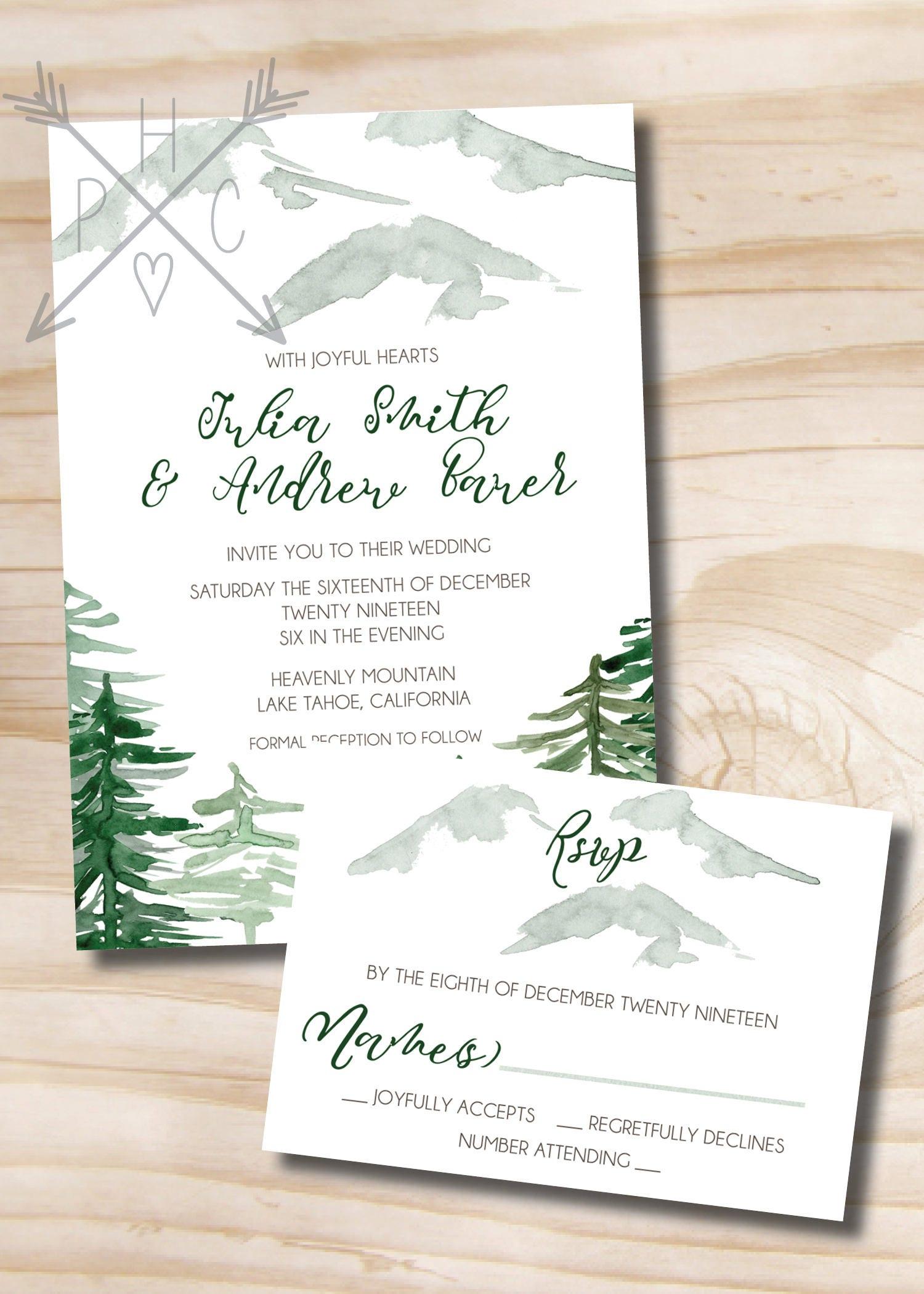 Watercolor Pine Mountain Wedding Invitation Response Card