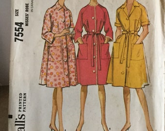 Vintage McCall's Pattern #7554 ©1964 Misses Robe Size Large 18-20