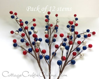 "Americana Berry Spray, Red, White, Blue, PACK of TWELVE, 18"" length, Darice Craft Supply / Decor / Embellishment Berry Pick Stem"