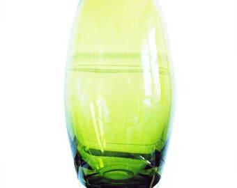 mid century green glass vase/ 60s modernist art glass vase / scandinavian glass Holmegaard
