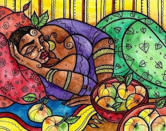Fine Art Print, Harvest Dreaming, watercolor, mixed media, illustration.