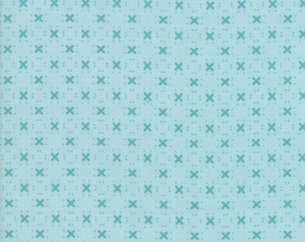 """Nest 108"""" Backing Fabric by Lella Boutiquee for Moda, #11143-15, Robins Egg Blue with Darker blue X - IN STOCK"""