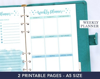 Planner pages, a5 planner inserts, weekly planner kit, desk accessories, a5 weekly inserts, agenda 2018, watercolor planner, gift mom