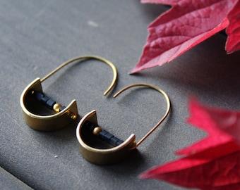 Dainty half circle hoop earrings geometric black and gold small hoops minimalist trend earrings half moon brass jewelry - Unity Earrings