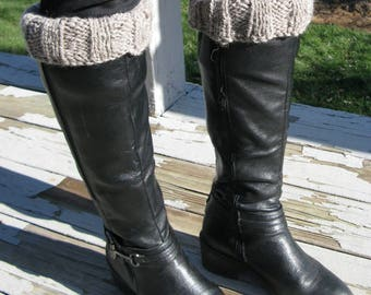 Boot Cuffs, Hand Knit Boot Toppers, Bulky Gray Alpaca Wool Boot Sock, Fashion Accessory for Women and Teen Girls