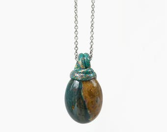 Natural Jasper Stone Cabochon Simple Pendant Necklace, Forest Green + Camel Brown Stone Jewelry