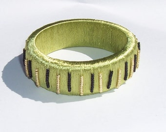 Light Avocado Green Beaded Bangle