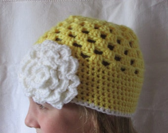 Girls Crocheted Hat - Fall Hat - Yellow hat with Flower - Granny Square Hat - Crocheted Beanie