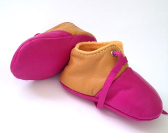 SALE 6-12 Months Slippers / Baby Shoes Lamb Leather Pink Mustard Yellow